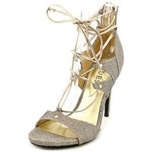 Guess Glitter Gold Tie Up Heels